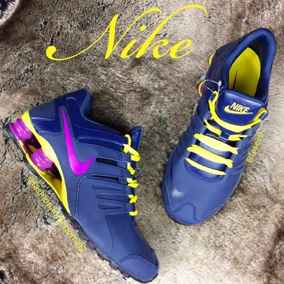 pretty nice 3fd32 5589e Nike Shox Women s Navy Blue purple yellow shoes